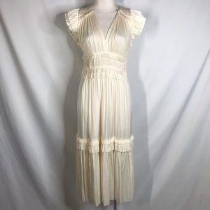 Ulla Johnson size 2 cream silky ruffle dress